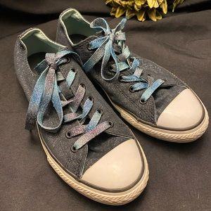 Converse-Blue Sparkle w/multi color laces-Junior 5